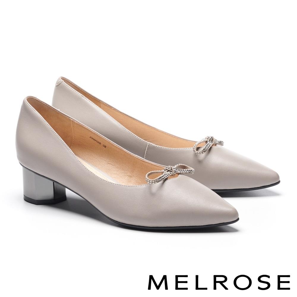 高跟鞋 MELROSE 簡約氣質晶鑽蝴蝶結羊皮尖頭造型粗高跟鞋-杏