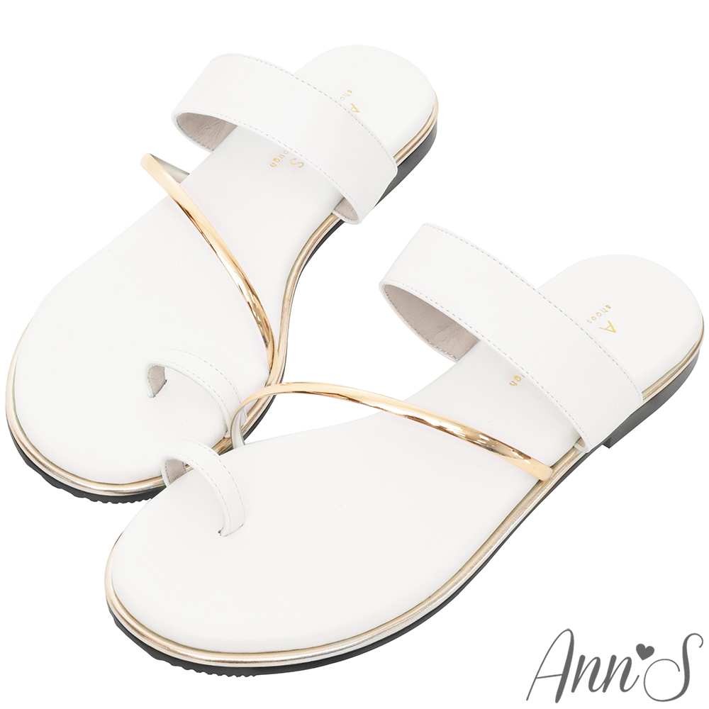 Ann'S女神光芒-素面套拇指軟金屬平底寬版涼拖鞋-白