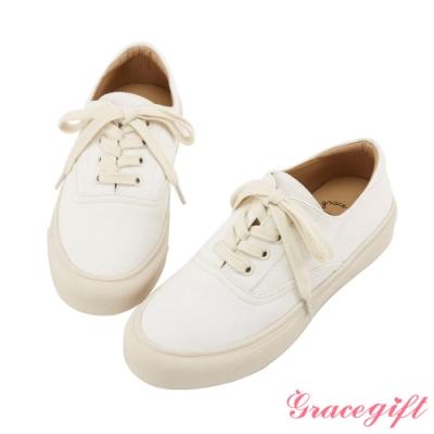 Grace gift-百搭圓頭綁帶平底休閒鞋 米白