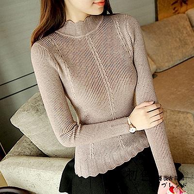純色花瓣邊半高領毛衣-共6色(F可選)   初色