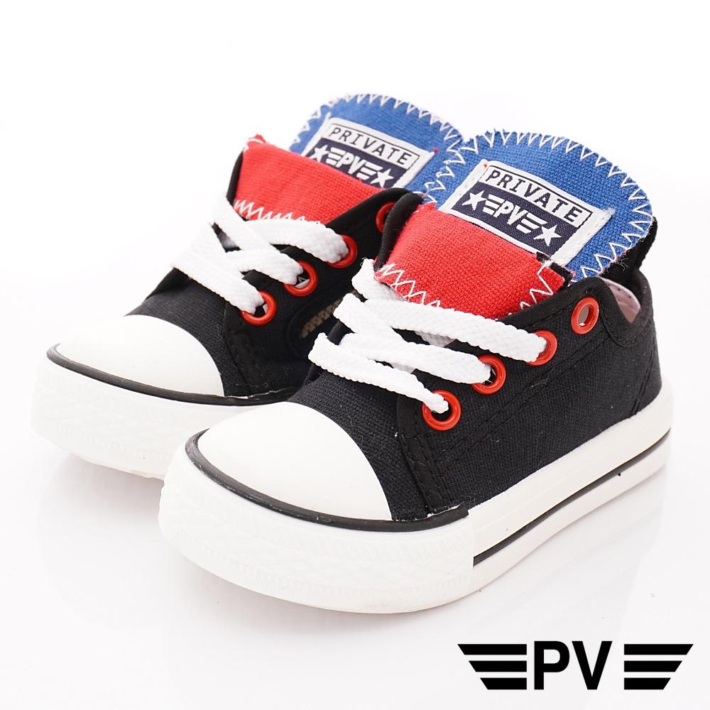 PV日系私藏 專櫃輕量帆布休閒鞋款 8901黑(中小童段)