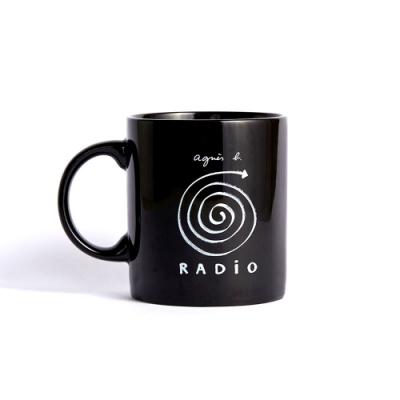 agnes b. radio音樂陶瓷馬克杯 12 oz (黑)