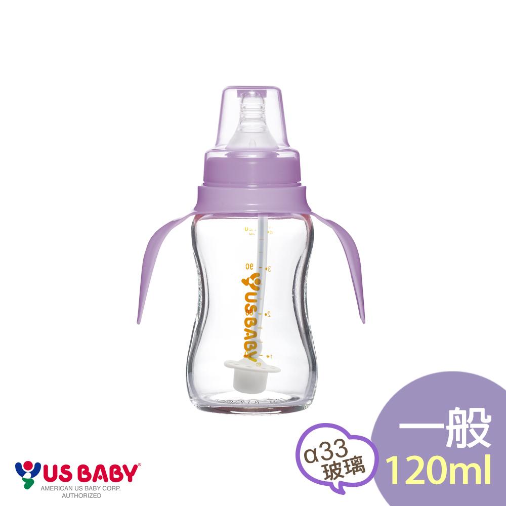 優生真母感手把吸管玻璃奶瓶(一般120ml-紫)