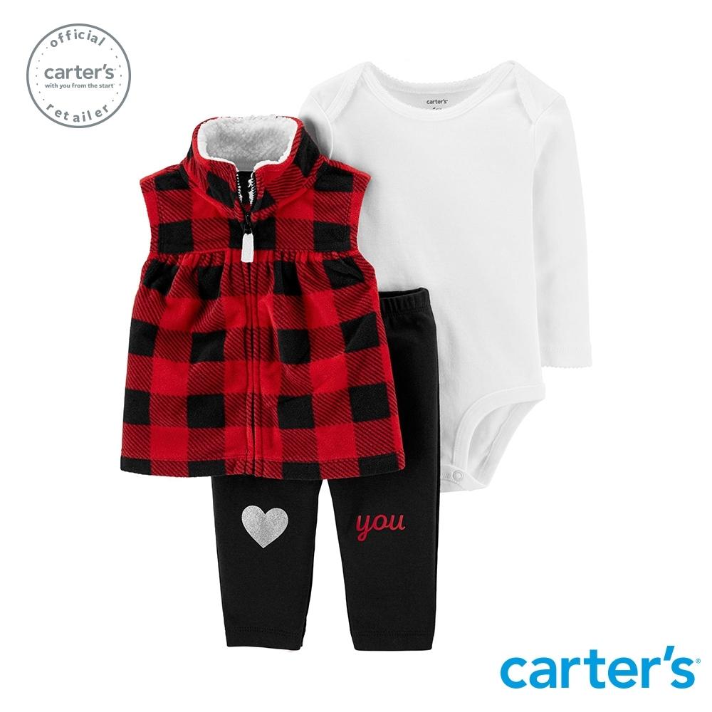 【Carter's】 甜美格紋背心3件組套裝 (台灣總代理)