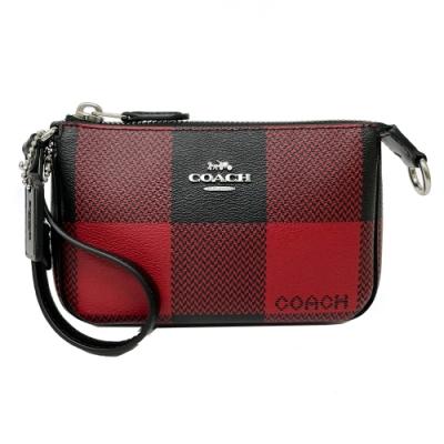 COACH 立體手拿包零錢包(紅黑格紋)