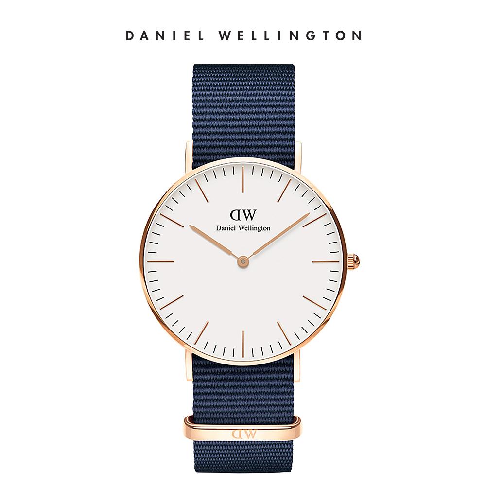 【Daniel Wellington】官方直營 Classic Bayswater 36mm星空藍織紋錶 DW手錶