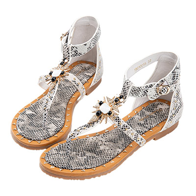 Robinlo 復古性感蛇紋羅馬涼鞋 灰色