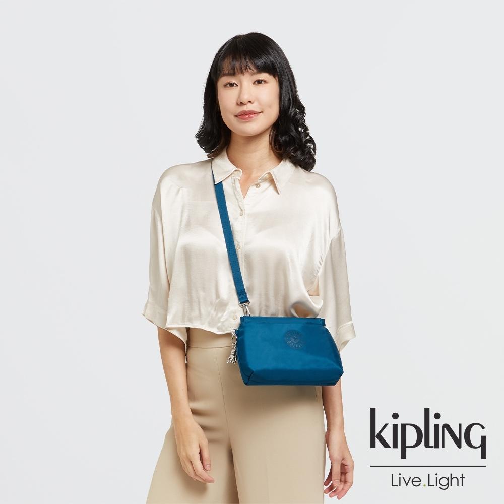 Kipling 神秘群青藍平口收納小包-ALZINA