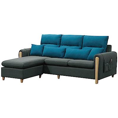 文創集 麥亞時尚棉麻布L型沙發組合(三人座+椅凳)-208x160x73cm免組