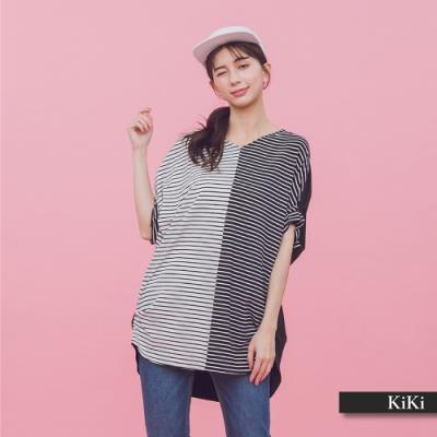 【KiKi】配色條紋拼接-上衣(黑色)