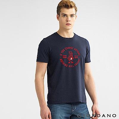 GIORDANO 男裝棉質標語印花短袖T恤- 14 標誌海軍藍