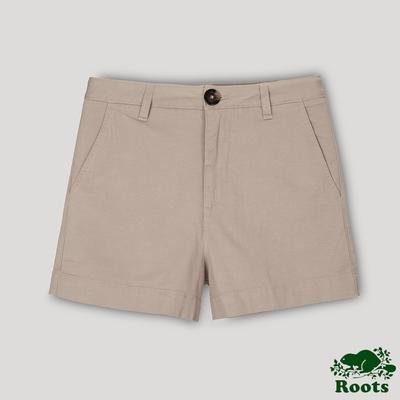 Roots女裝- 摩登週間系列 高腰平織短褲-奶茶色