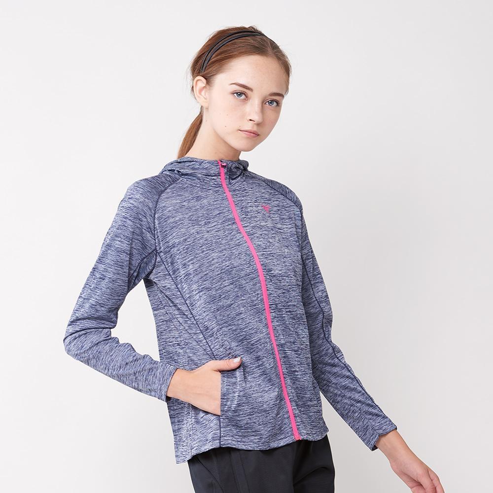 【FIVE UP】女款麻花針織運動休閒連帽外套-藍
