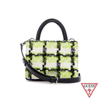 GUESS-女包-編織格紋雙層肩背包-螢光黃 原價2890