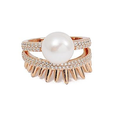 apm MONACO法國精品珠寶 閃耀玫瑰金鑲鋯珍珠SPIKE戒指