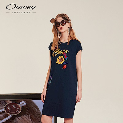 OUWEY歐薇 熱帶植物標語連袖洋裝(藍)