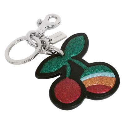 COACH全皮亮粉櫻桃掛飾雙扣環鑰匙圈