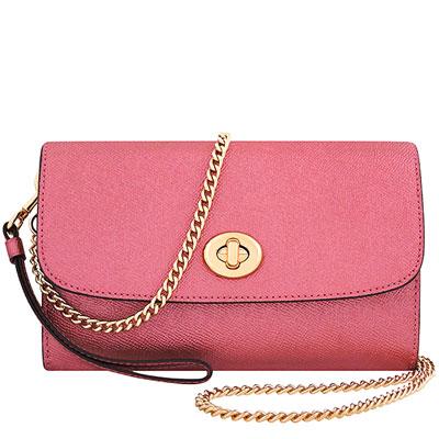 COACH 粉紅色光澤防刮皮革旋釦鍊帶斜背包兩用包