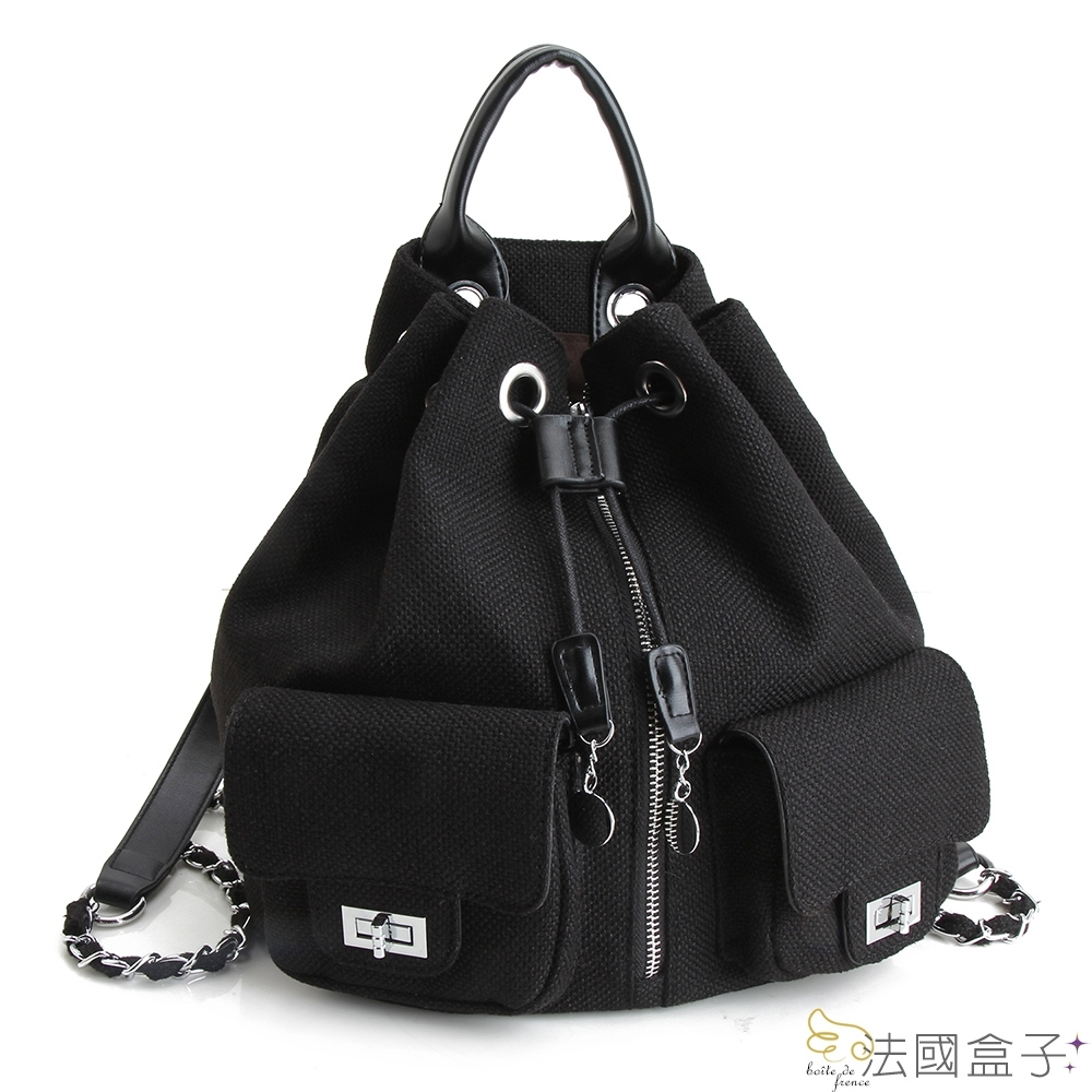 法國盒子 韓流編織毛呢大容量多用後背包-黑色