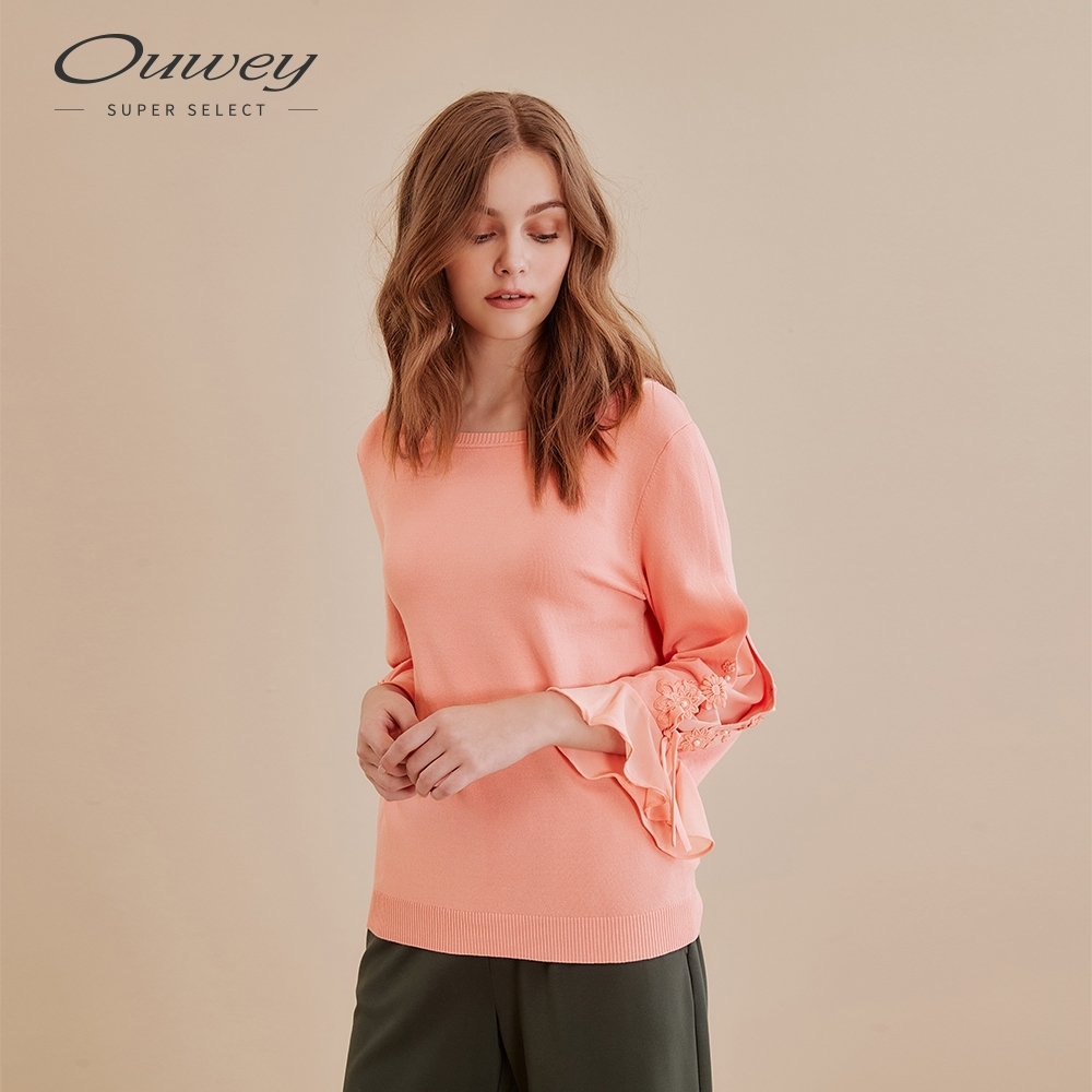 OUWEY歐薇 純色開洞蕾絲貼花針織上衣(桔/綠)