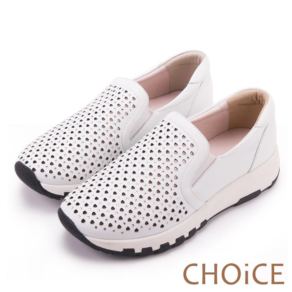 CHOiCE 舒適渡假休閒 牛皮愛心打洞休閒包鞋-白色