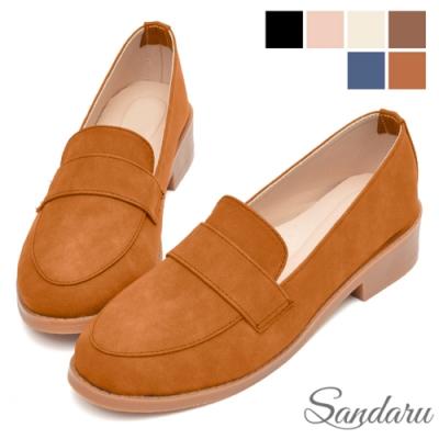 山打努SANDARU- 大尺碼鞋 紳士鞋 全素面磨砂皮革低跟鞋-棕