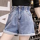 La Belleza花苞牛仔短褲荷葉鬆緊腰高腰兩釦側邊口袋牛仔反折短褲