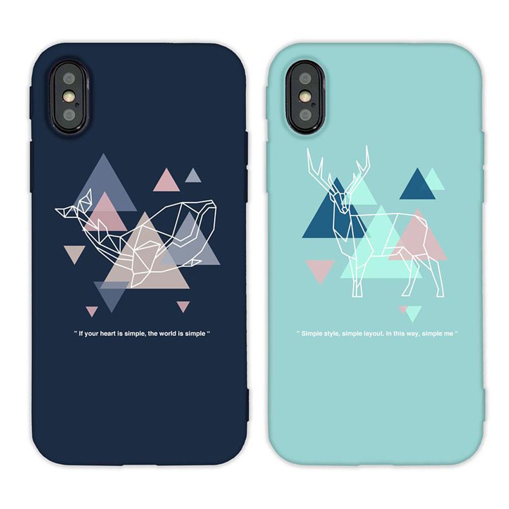 【TOYSELECT】iPhone SE2/7/8 幾何三角Design動物手機殼
