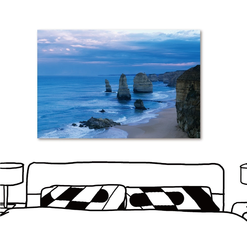 24mama掛畫 單聯式 現代無框畫掛畫 40x60cm-清晨海岸