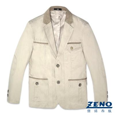 ZENO 簡約質感休閒西裝外套‧卡其