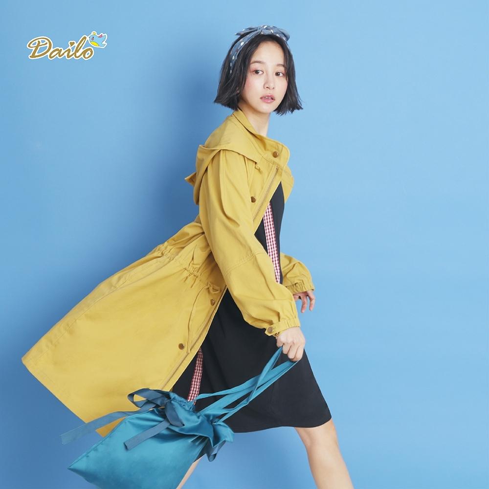 【DAILO】長版抽繩風衣-外套(四色)