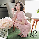 洋裝 正韓圓領蕾絲荷葉裙襬修身短袖洋裝(粉) N2