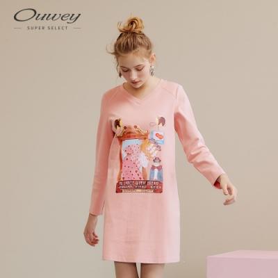 OUWEY歐薇 幻境女孩印花V領洋裝(粉)