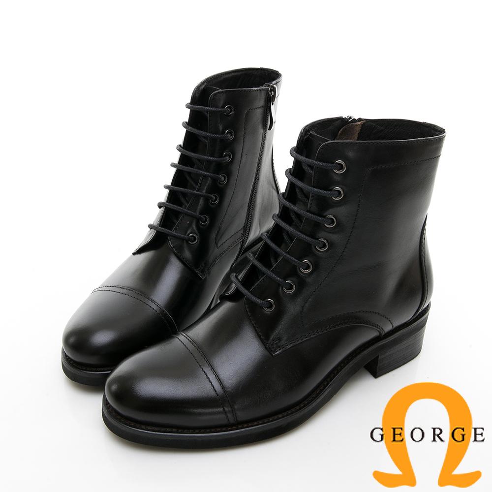 【GEORGE 喬治皮鞋】復古英倫風牛津素面繫帶短靴-黑色
