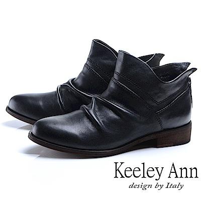 Keeley Ann 俏皮性格~小精靈質感抓皺全真皮短靴(黑色)