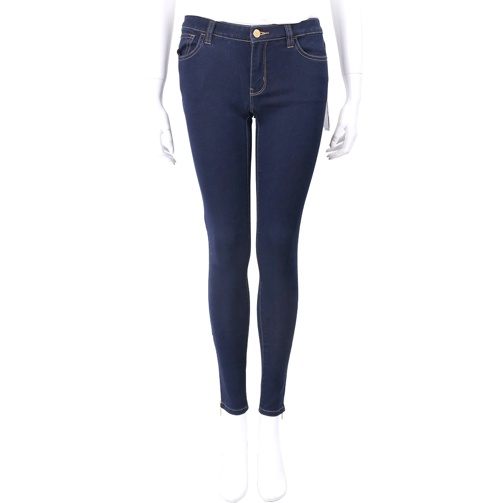 Michael Kors 側拉鍊設計深藍色夏日薄丹寧窄管褲