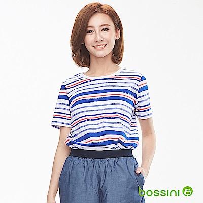 bossini女裝-圓領短袖條紋撞色上衣天藍