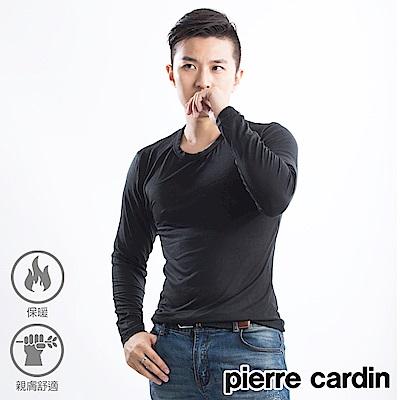 Pierre cardin 皮爾卡登 發熱保暖莫代爾圓領發熱衣-單件-黑色