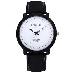 Watch-123 大錶盤日系極簡風格麂皮帶手錶 (4色任選)