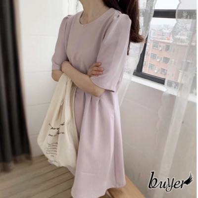 【白鵝buyer】優雅 泡泡袖A字裙長洋裝(藕紫)
