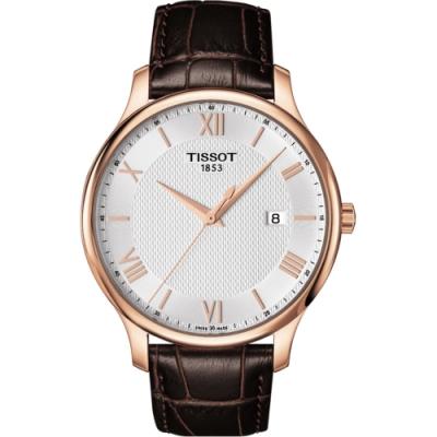 TISSOT Tradition 羅馬經典大三針石英腕錶-玫瑰金框x咖啡/42mm