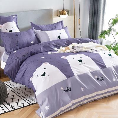 3-HO 雪紡棉 單人床包/枕套 二件組  白熊點點