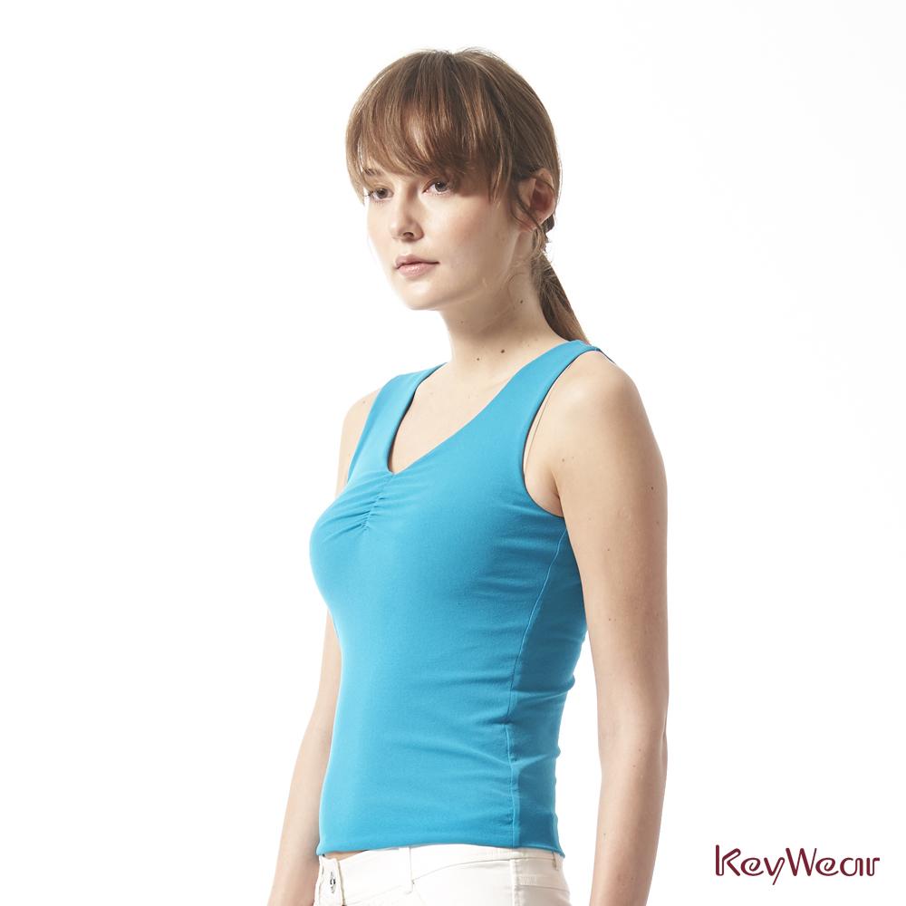 KeyWear奇威名品     彈性素面百搭無袖背心-藍色