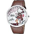 [時時樂限定] HELLO KITTY 凱蒂貓 x LINE 限量聯名手錶-咖啡/50mm