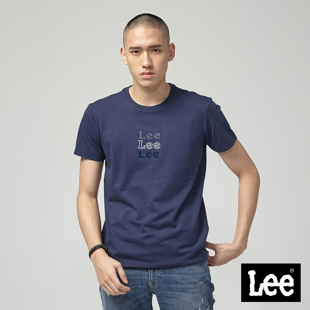 Lee 小LOGO短袖圓領TEE-丈青