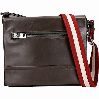 BALLY TAMRAC 小型牛皮紅白織帶郵差包(咖啡色)