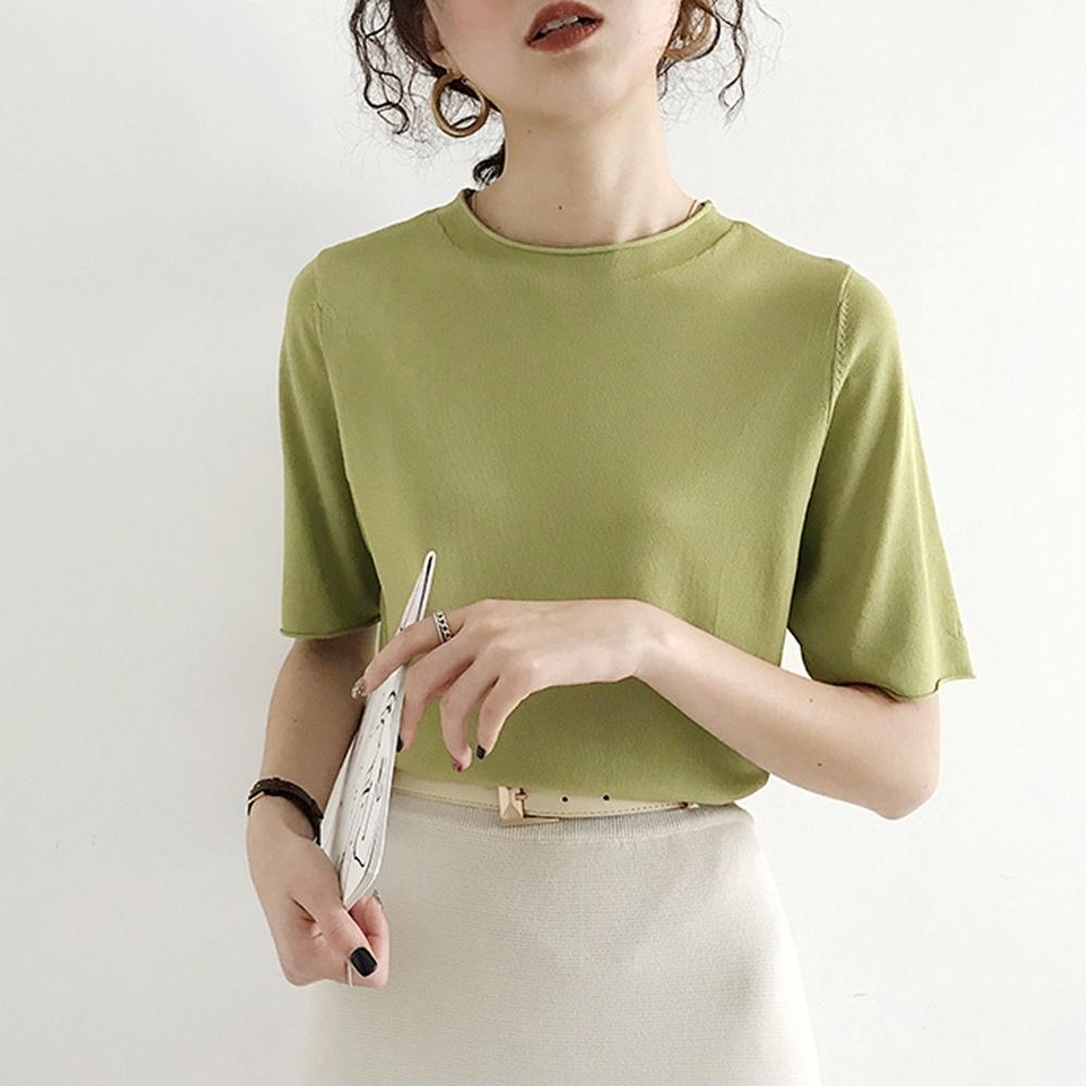 ALLK 歐楷 超彈力冰絲針織上衣 共10色(尺寸F 任選) (綠色)