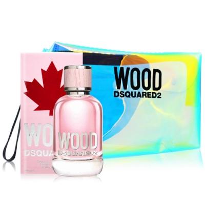 DSQUARED2 WOOD 天性女性淡香水100ml+品牌透明炫彩果凍化妝包30X8X16cm-公司貨