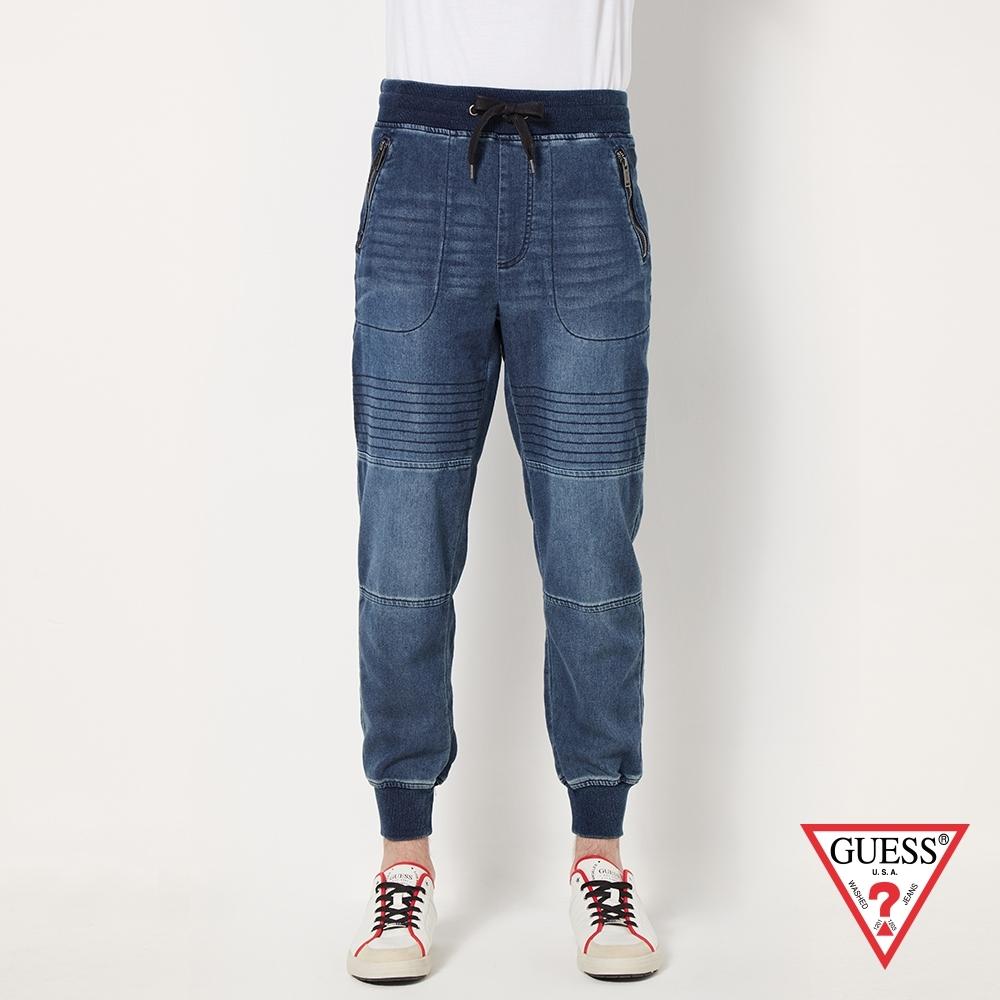 GUESS-男裝-抽繩窄版牛仔縮口褲-藍 原價2990