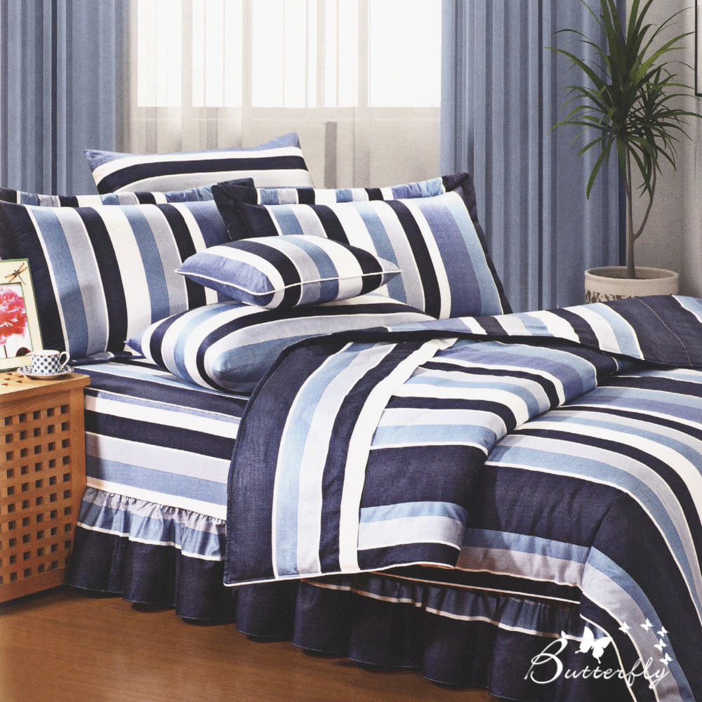 BUTTERFLY-台製40支紗純棉-薄式單人床包被套三件組-時尚條紋-藍
